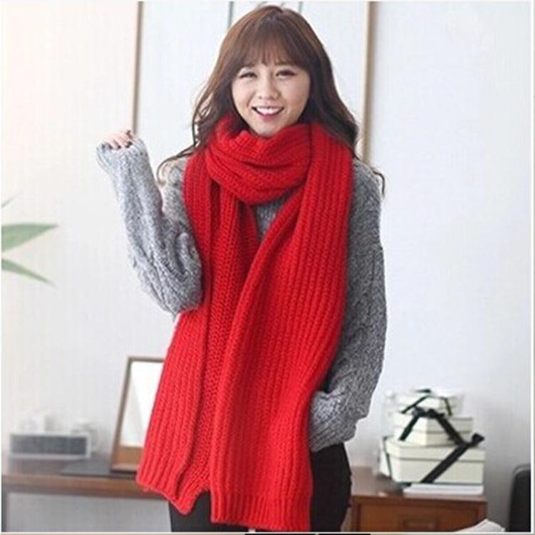 新款针织毛线加长加厚围巾女大红纯色围脖秋冬季学生情侣韩版脖套