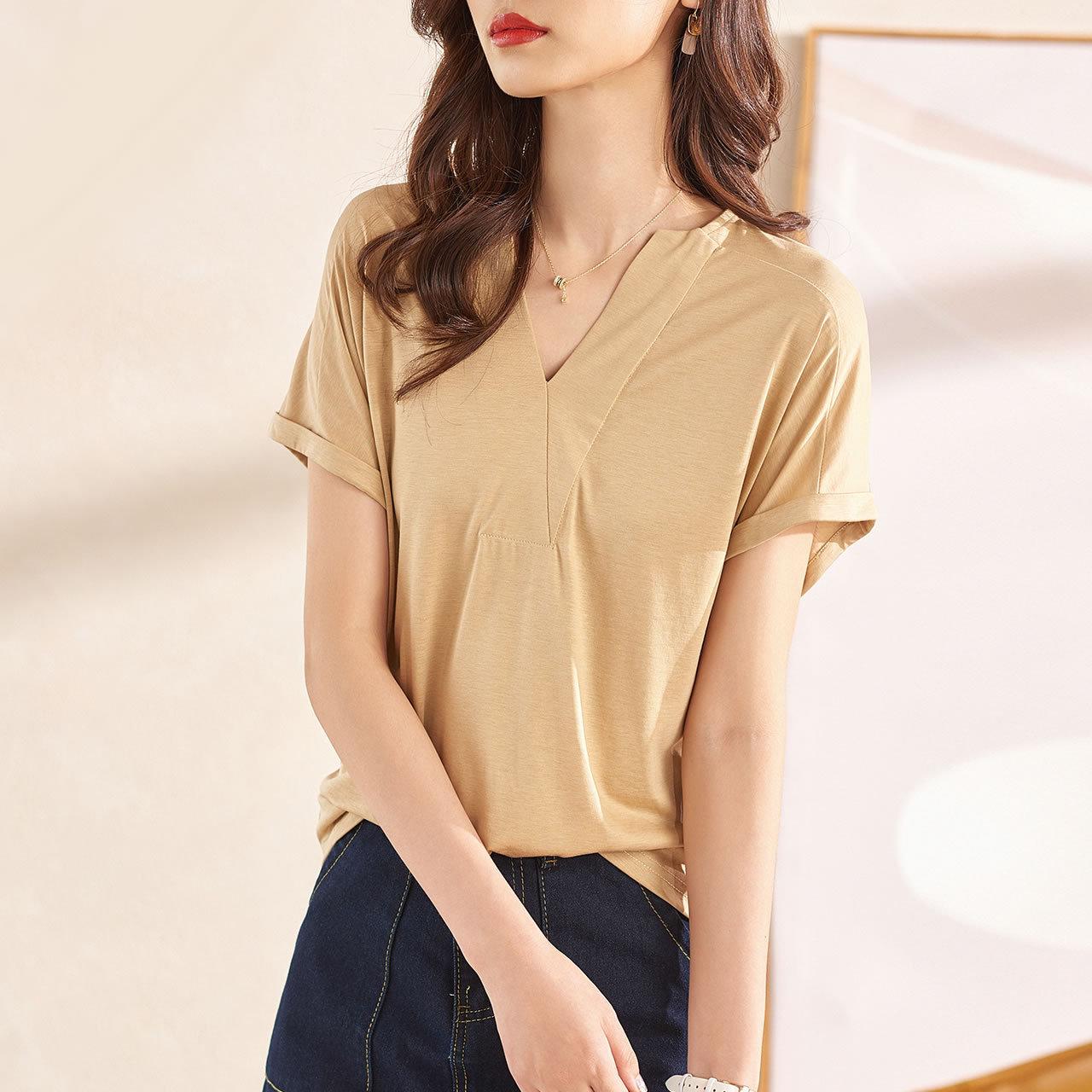 2021夏季新款女装时尚纯色短袖t恤性感v领上衣小衫宽松显瘦打底衫