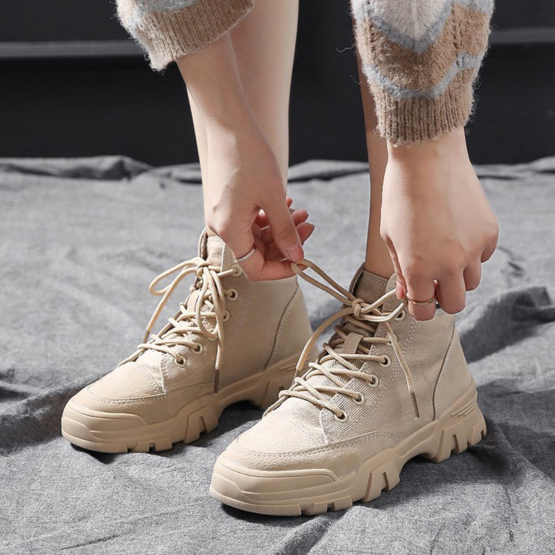Martin boots womens summer thin shoes 2020 spring / summer versatile leather canvas breathable desert boots thick soled boots childrens short boots