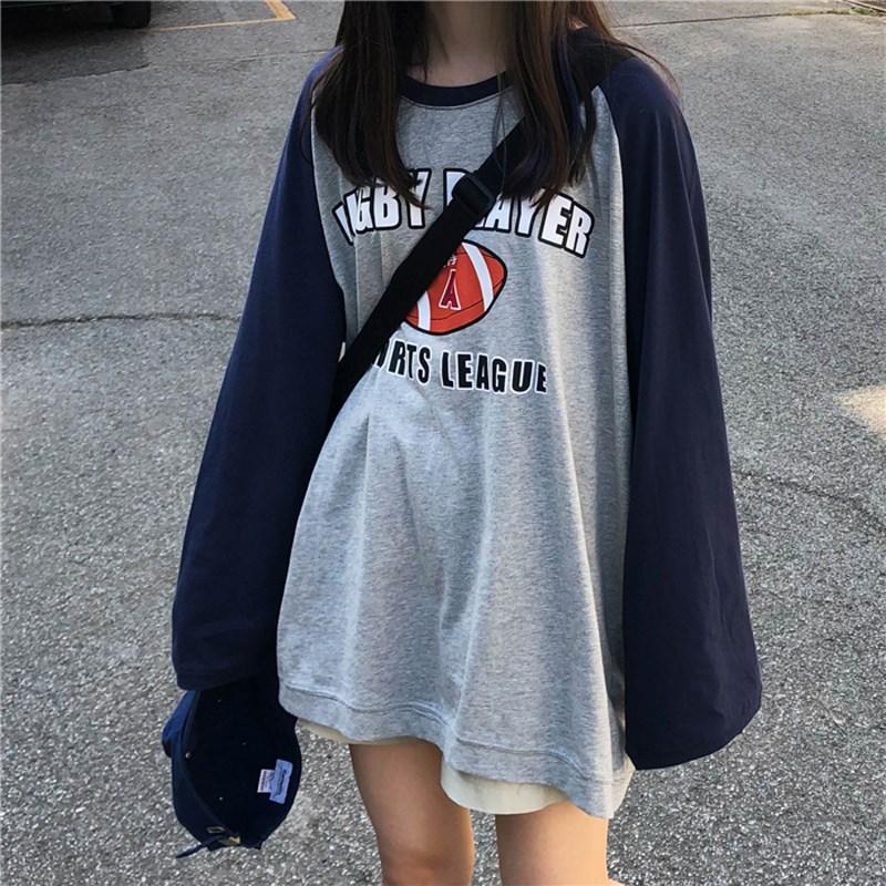 (用5元券)2019秋季新款宽松bf风网红中长款上衣字母印花下衣失踪长袖T恤女