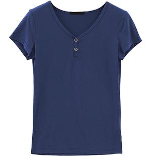 夏收身短款上衣黑色莫代爾t恤短袖女士修身薄款v領白色緊身打底衫