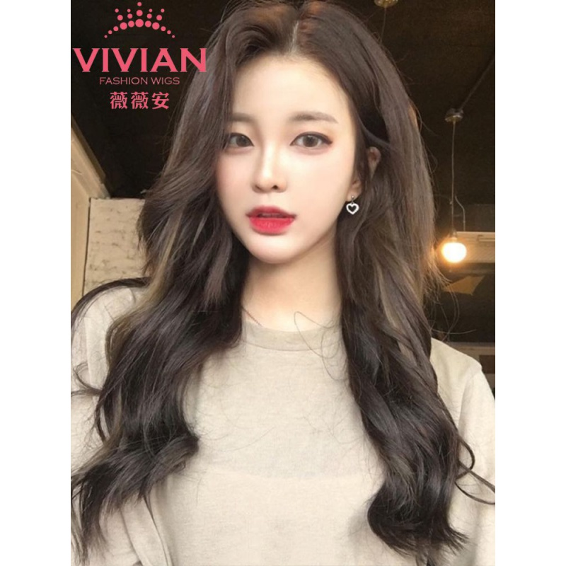 Wig female long curly hair without bangs natural no trace simulation hair piece U-shaped net red big wave vu18