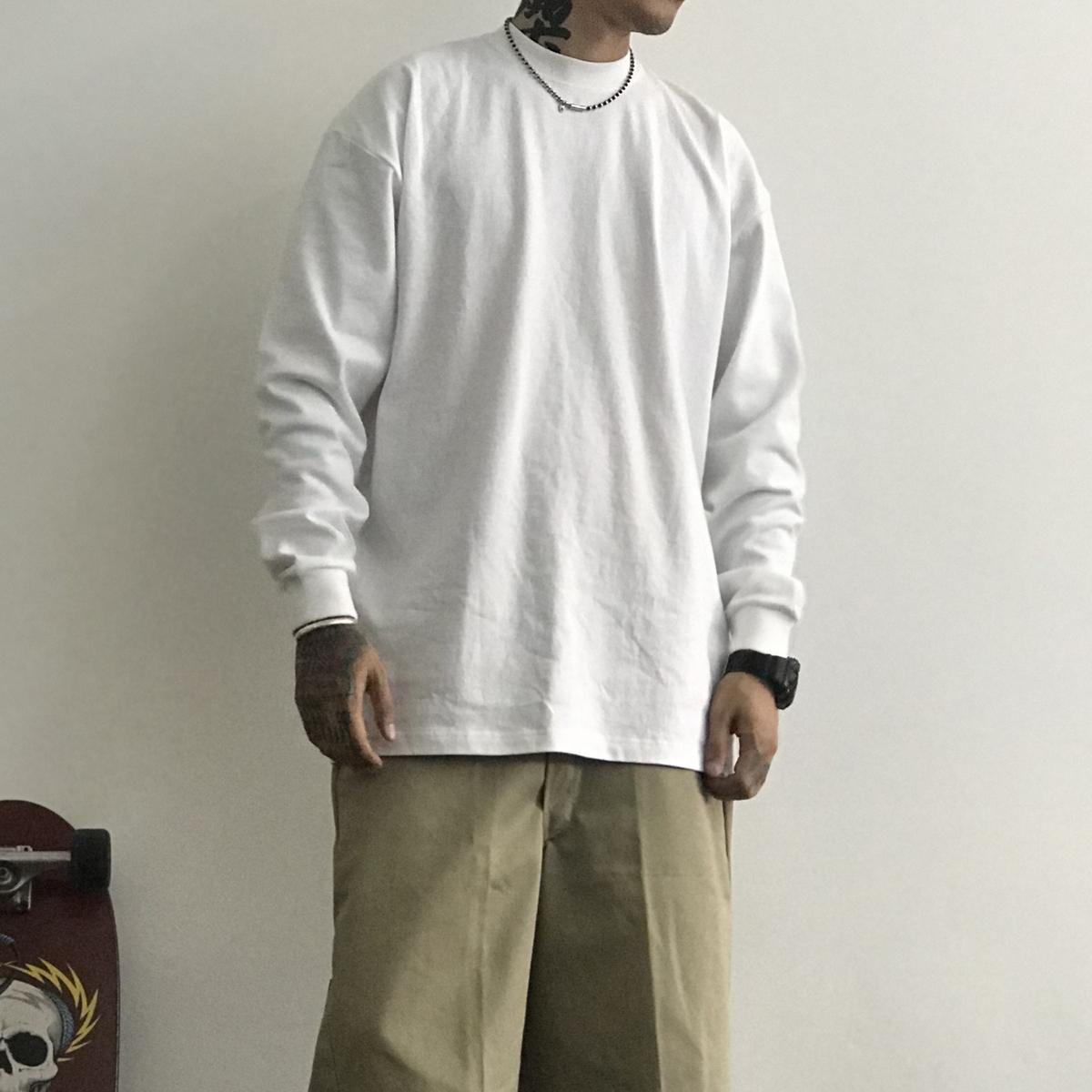 bboy练舞popping hiphop街舞old school小领重磅纯色打底长袖t��