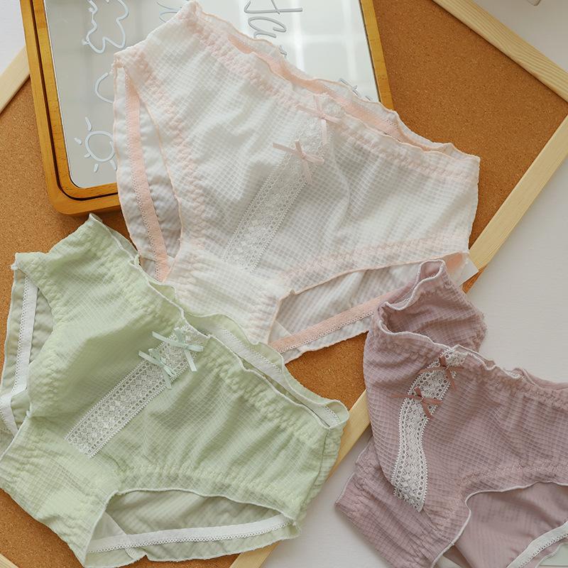 3条包邮 抗菌冰丝内裤女华夫格中低腰荷叶边三角裤透气轻薄棉不勒