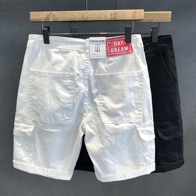 夏季薄款潮牌大方袋黑白色牛仔短裤男宽松直筒潮流休闲工装短裤子
