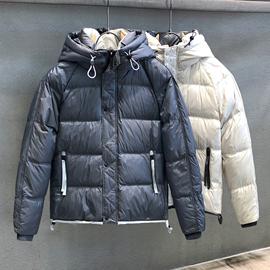 柔糯轻度灰色轻薄羽绒服男士修身短款夹克上衣冬季连帽外套男棉衣