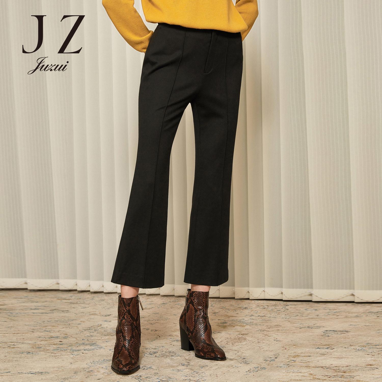 JUZUI/玖姿官方旗舰店女裤2019冬装新款黑色简约干练微喇裤女