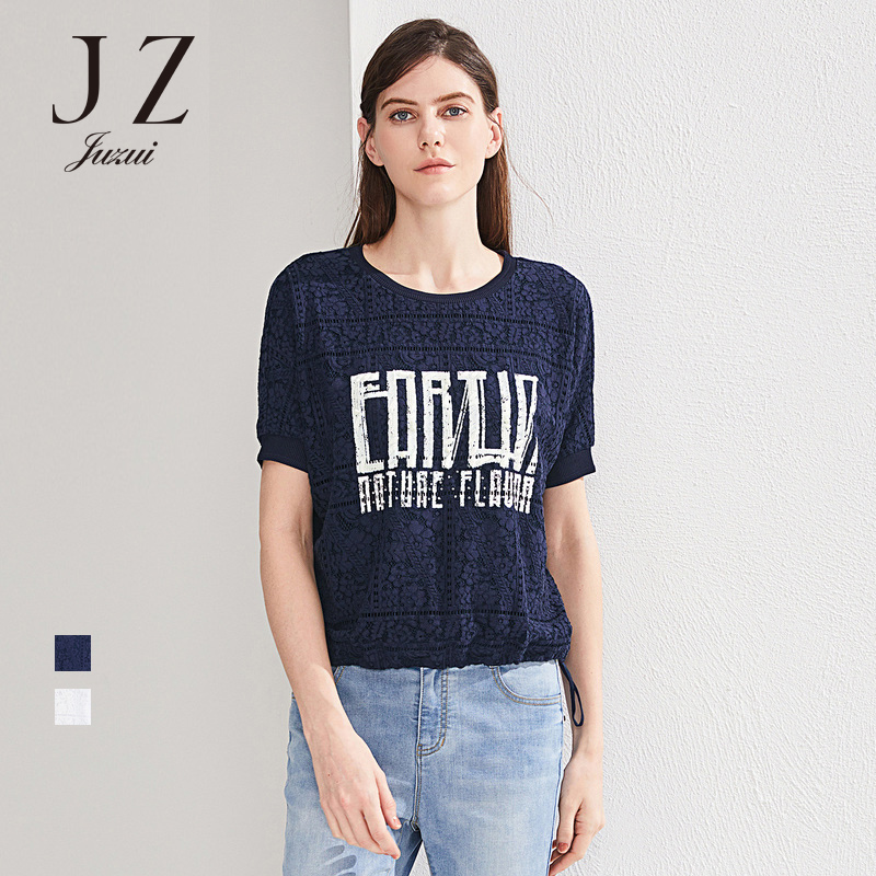 JUZUI/玖姿旗舰店女装2018夏季新款圆领短袖印花上衣宽松T恤女