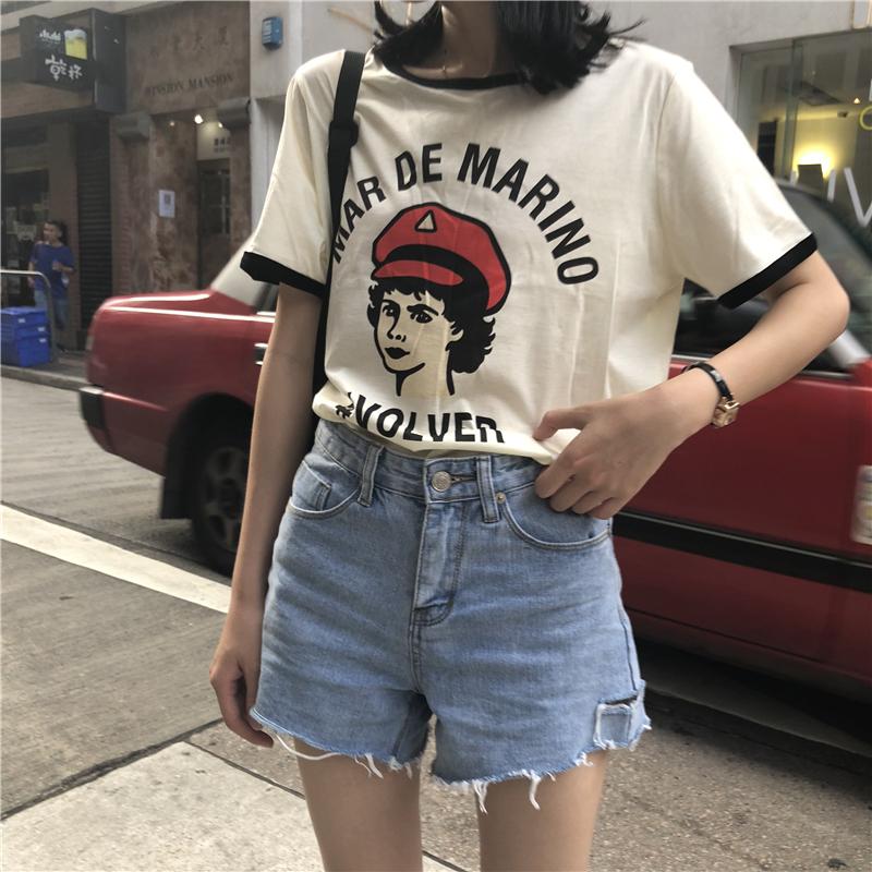 短袖T恤女装夏季新品chic学生宽松韩版怪味字母少女印花圆领上衣
