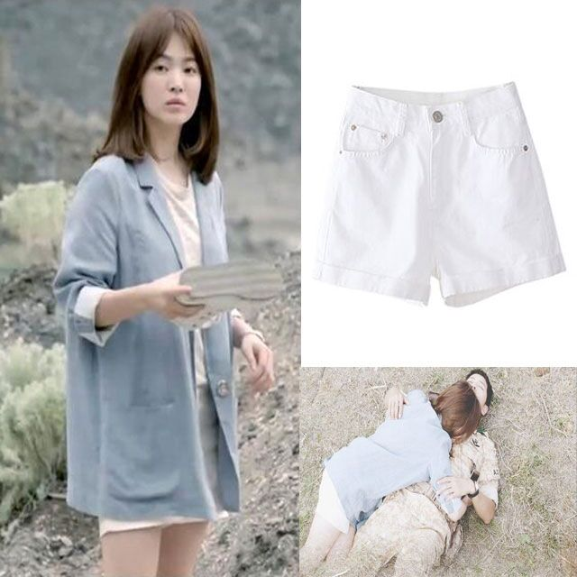 Korean Song Hye Kyos same pants, the descendant of the sun, Jiang Muyan shorts, white high waisted jeans shorts, female Xia