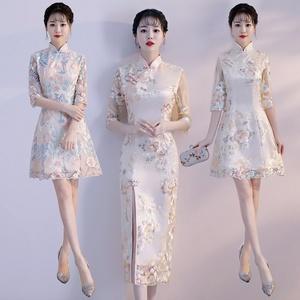 领5元券购买旗袍夏季2019新款女中国风端庄时尚少女短款中长款大气蕾丝连衣裙