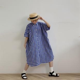 裙 短袖 蓝白格子衬衫 法式 原创设计女装 连衣裙 宽松 hewu和物