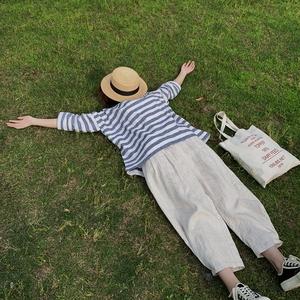 hewu和物  原创设计女装 自制棉麻条纹宽松罩衫日系 百搭上衣