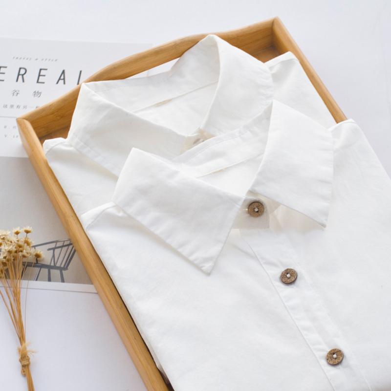 秋季纯棉白衬衫女长袖小尖领圆领内搭打底衬衣女装学院风休闲上衣