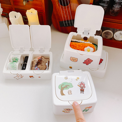 ins wind snap storage box with lid student desktop storage box cute girl heart cosmetic plastic small box