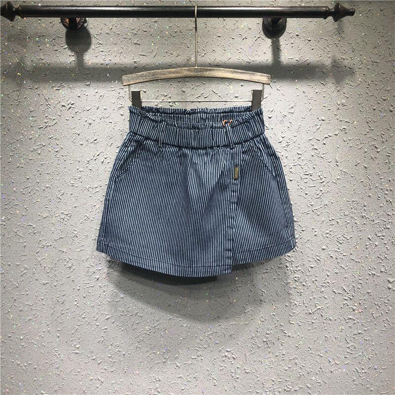 Denim skirt 2021 summer new stripe European station elastic waist high waist slim irregular A-line trouser skirt