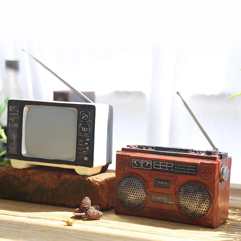 满26.80元可用1元优惠券美式复古老式收音机电视机模型摆件客厅酒柜咖啡馆装创意饰品道具