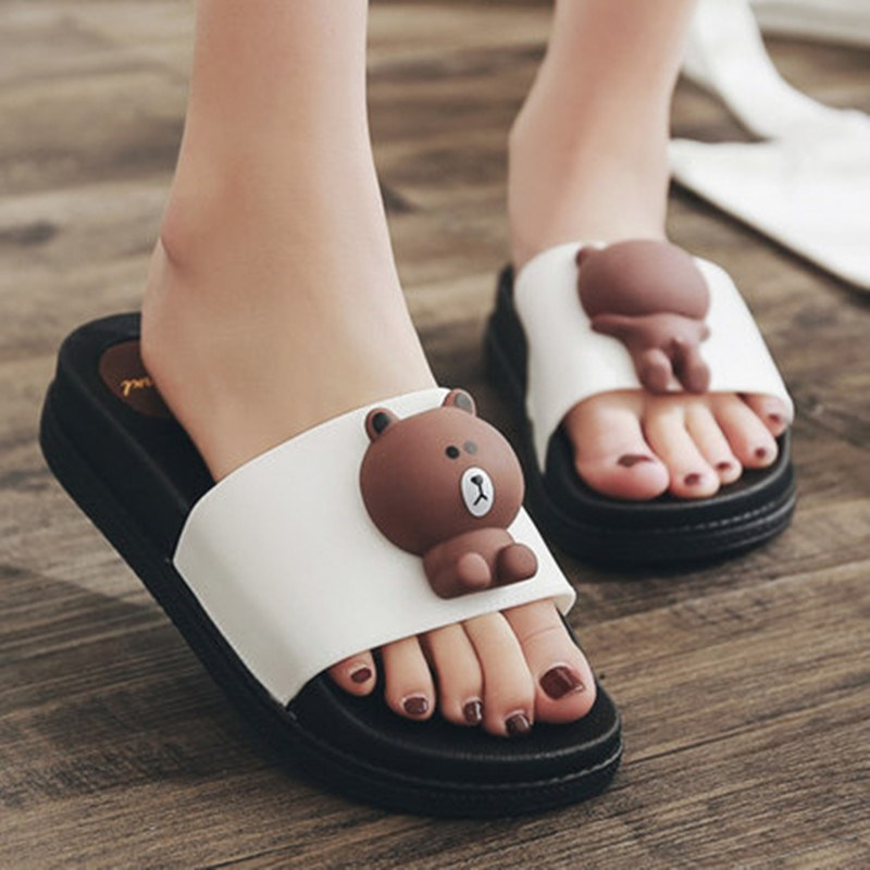 Simple girl pink personality home summer home beach wear-resistant flat bottom summer lovely black bottom slippers