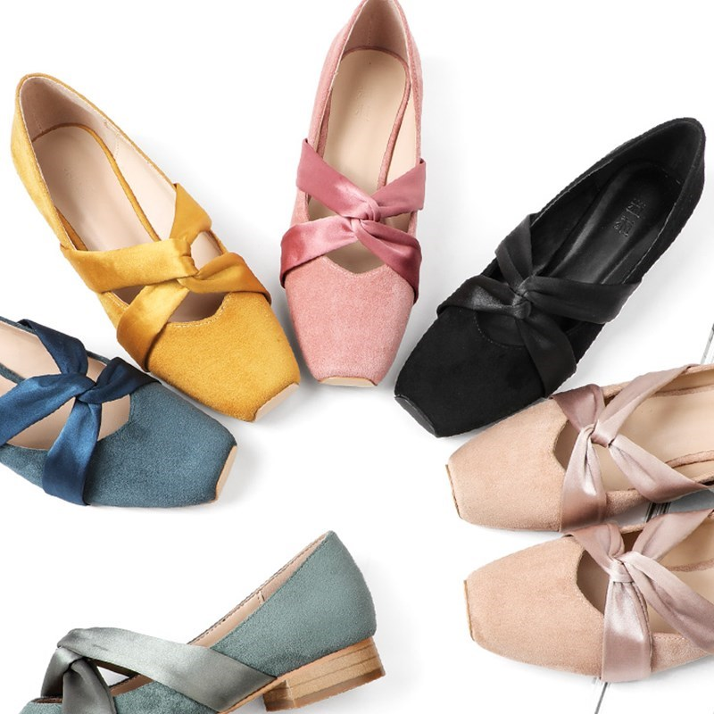 Bandage thick heel medium low single shoes womens Retro square head ballet Hepburn high heel shoes fairy shoes in spring 2019