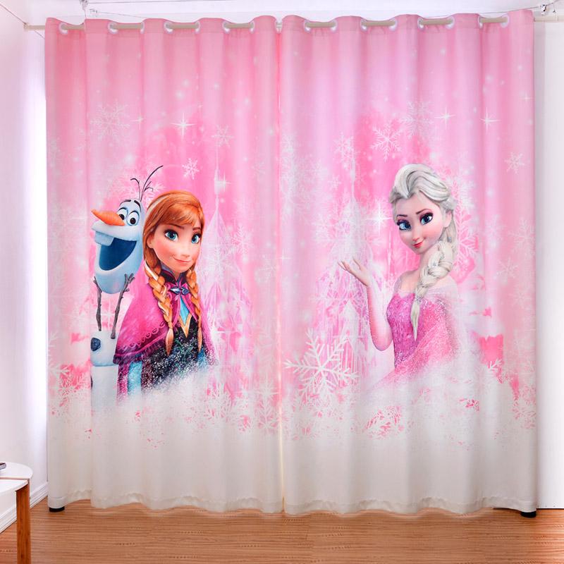 新品冰雪奇缘艾莎安娜卡通女孩儿童公主房窗帘卧室飘窗落地遮光布