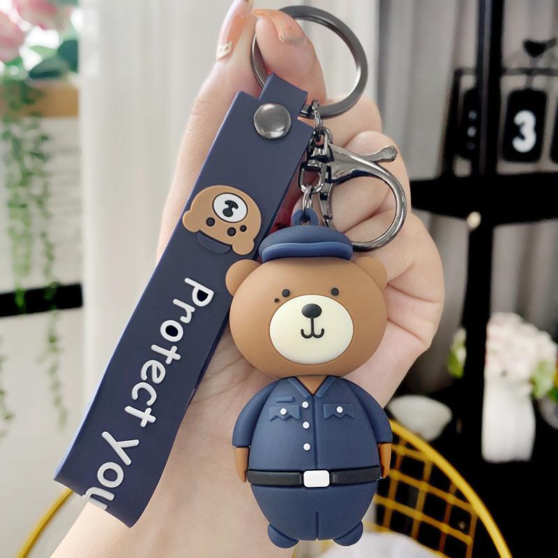白敬亭同款你是我的城池营垒小熊钥匙扣女可爱汽车钥匙链书包挂件