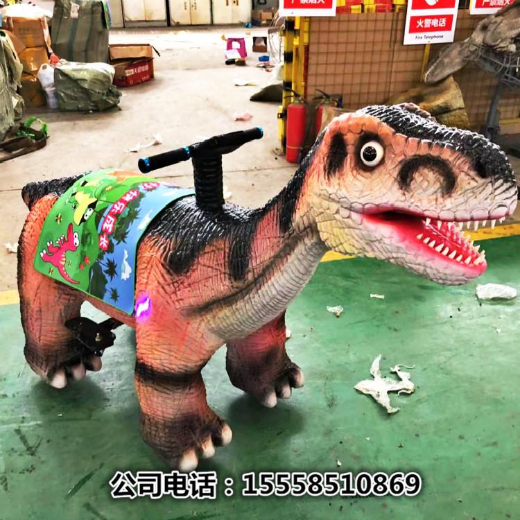 景区农场游乐园网红暖场设备仿真硅胶恐龙游乐车乘骑大恐龙碰碰车