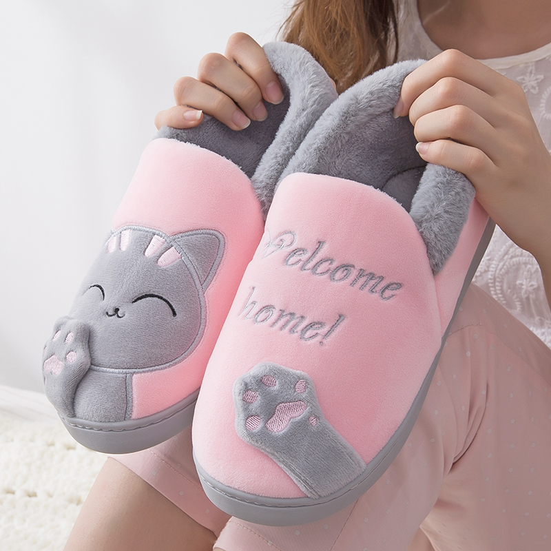 Winter warm cotton slippers womens bag heel thick bottom winter Korean lovely moon cotton shoes home Maomao slippers men