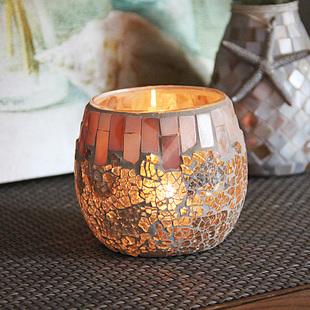 包邮贝壳淡彩玻璃马赛克玻璃烛台DIY香薫蜡烛杯烛光晚餐装饰摆件