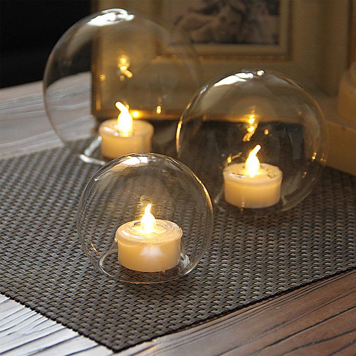 Простой современный творческий прозрачный круг мяч воск стекло подсвечник свадьба ткань положить свеча свет ночь еда танец реквизит