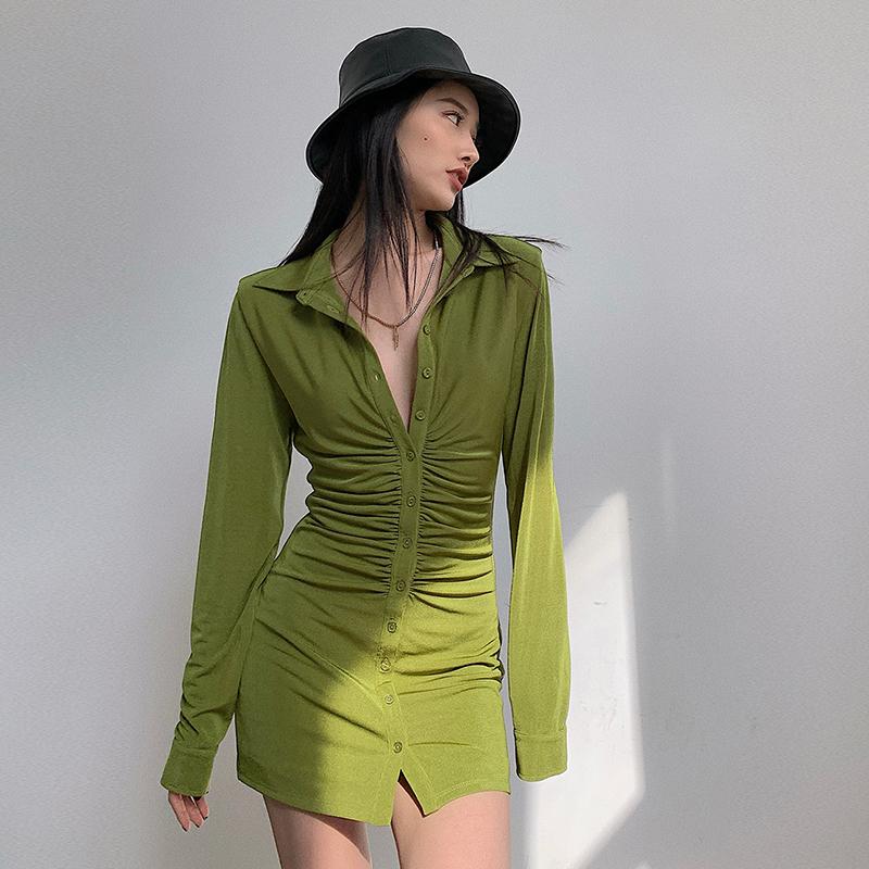Women's V-neck high-waist pleated dress on the left, female ins short skirt 2021 early spring new slim long and short skirt
