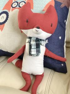 童话故事可爱风 格子围巾桔色小狐狸棉麻布料安抚玩偶抱偶