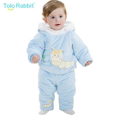奇乐兔婴儿服装2件套新款儿童加厚冬款套装1-2岁女宝宝秋冬外出服