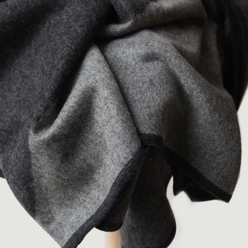 内蒙古高端纯羊绒毯子灰黑色几何图案双面提花加厚保暖围巾大披肩