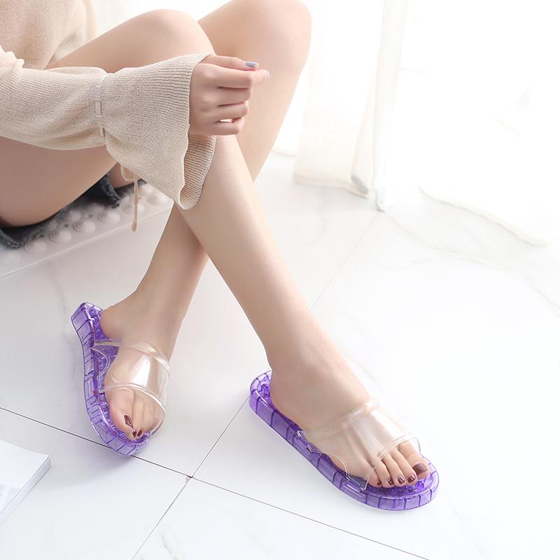 浴室拖鞋情侶家居洗澡水晶塑料男防滑漏水按摩拖鞋女夏穴位足療