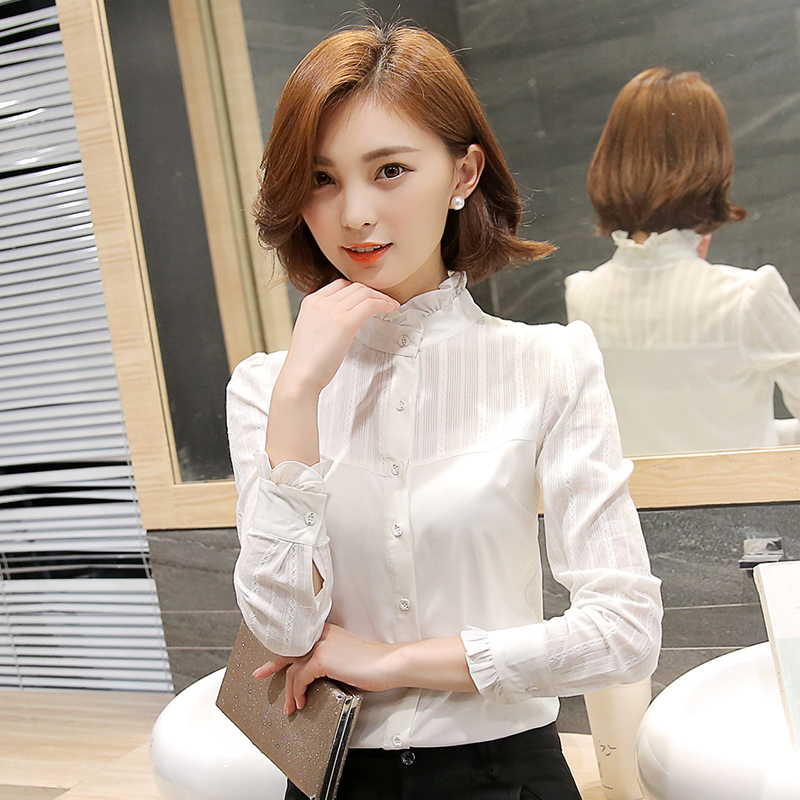 Pure cotton white stand collar shirt womens long sleeve autumn winter 2019 new fashion professional top temperament casual shirt