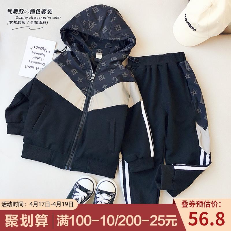 男女童韩版大牌运动套装2021春季新款中小童洋气百搭撞色两件套潮