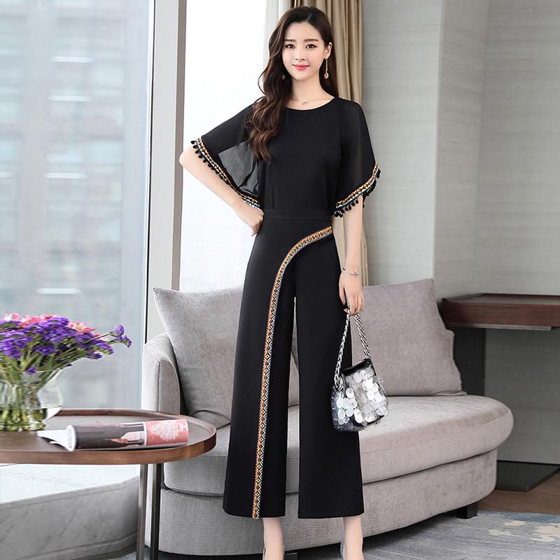 2018夏装新款两件套优雅气质女装雪纺套裙淑女名族风时髦套装裤潮