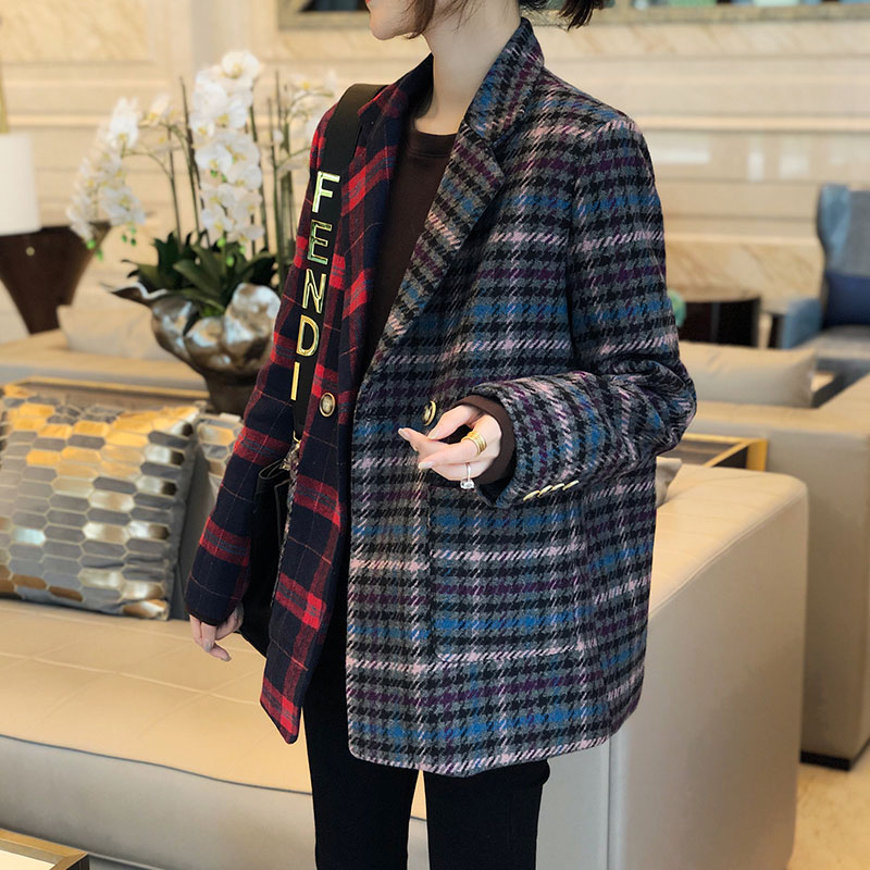 European station small fragrance retro color contrast Plaid patching Lapel loose temperament tweed Blazer for women