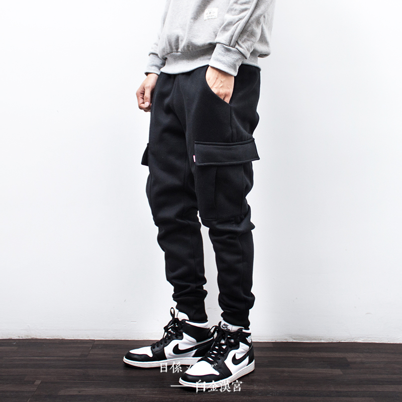 冬季加绒加厚男士多口袋工装束脚裤潮新款休闲长裤大码宽松运动裤