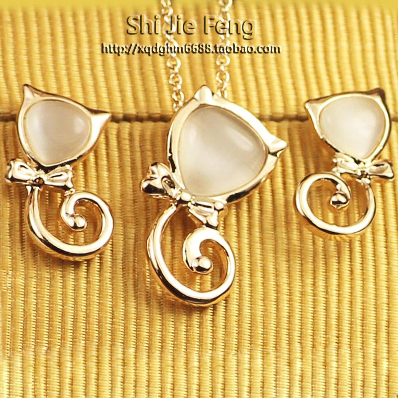 Brand jewelry Regent counter jewelry Japan and South Korea version Lovely Cat Earrings Opal Earrings Necklace versatile set