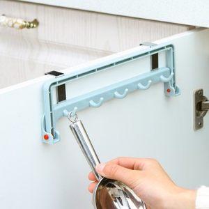 创意多功能可折叠厨房抹布挂架橱柜门背式免打孔毛巾挂钩热卖