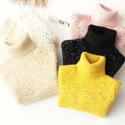 冬装新款女童水貂绒毛衣韩版儿童加绒加厚女孩洋气高领打底针织衫
