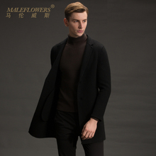 Maleflowers / malenwes reversible coat men's medium long wool coat Alpaca men's fashion