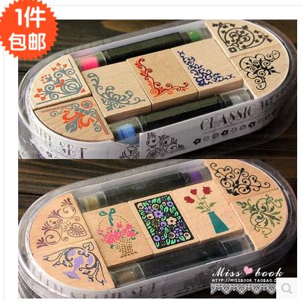 韩国印章DIY相册可爱印章组古典边角花边【2只印泥笔+7枚印章】