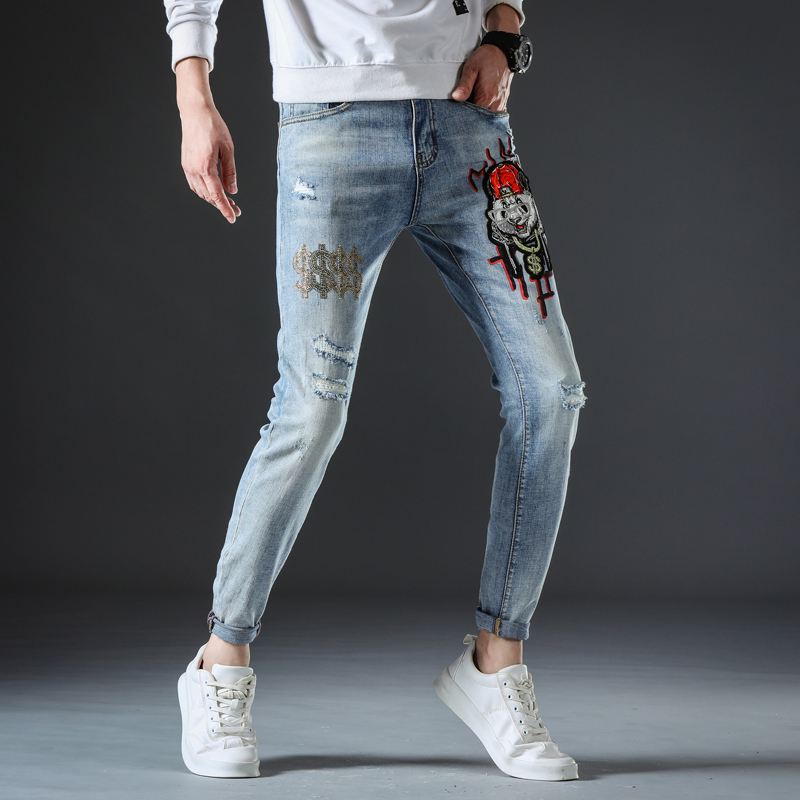 Summer embroidered jeans for men slim fit, small feet elastic trend light white printing, hot drilling, broken hole, fashion brand pants for men