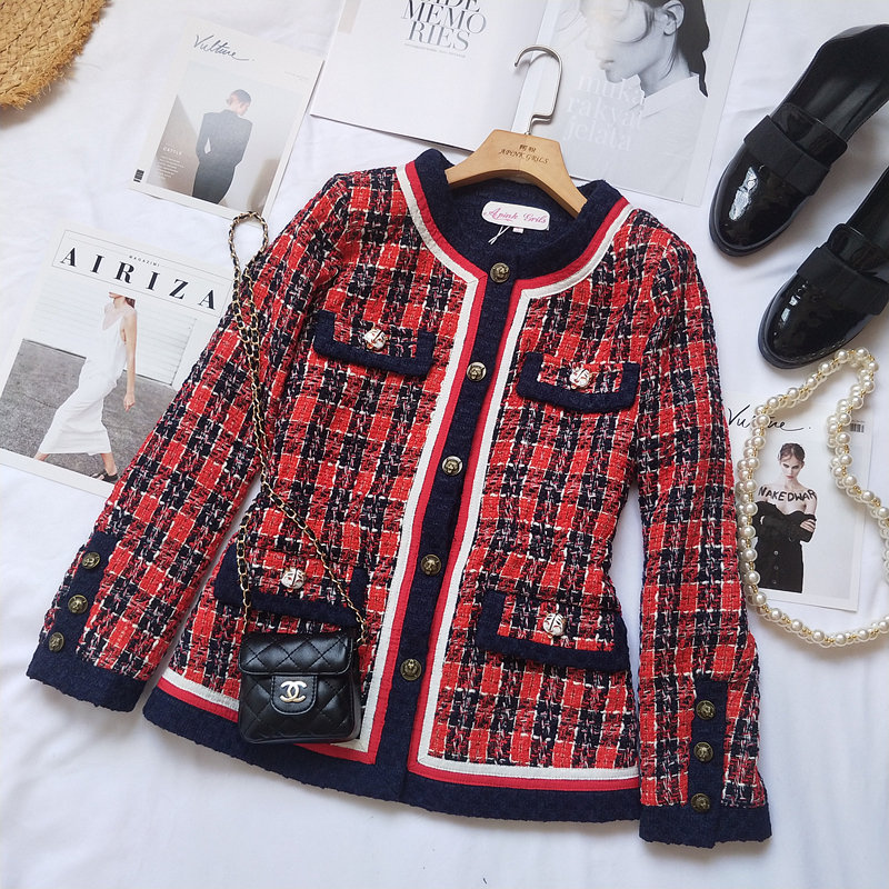 Clear inventory ~ 2020 small fragrance and celebrity temperament Plaid woven jacket with waist pocket and tweed top