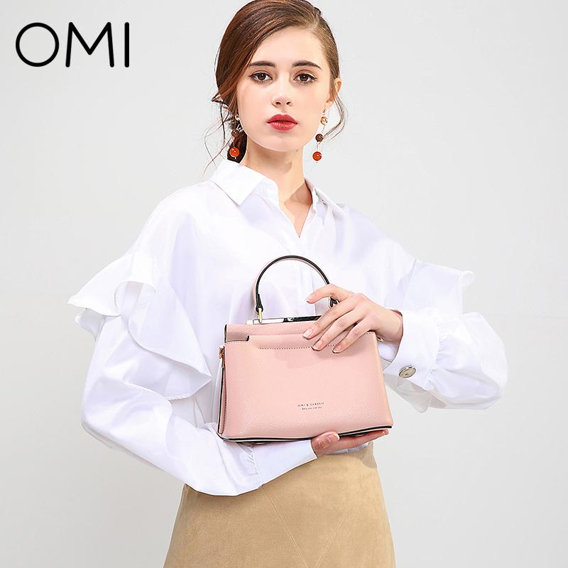 歐米OMI包包女2019春夏新款凱莉包女純色手提包單肩包Z