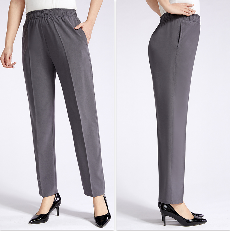 Middle aged mulberry silk summer thin mothers pants pure color straight pants womens pants elastic high waist pants suit pants show thin