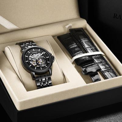 雷诺男士防水镂空机械手表