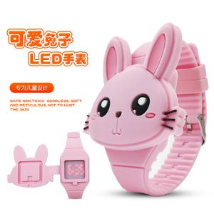 儿童led数字电子手表女孩学生可爱卡通兔子猫咪防水翻盖玩具表男